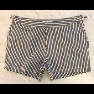 ORLEBAR BROWN SWIM TRUNKS GRAY SEERSUCKER STRIPED